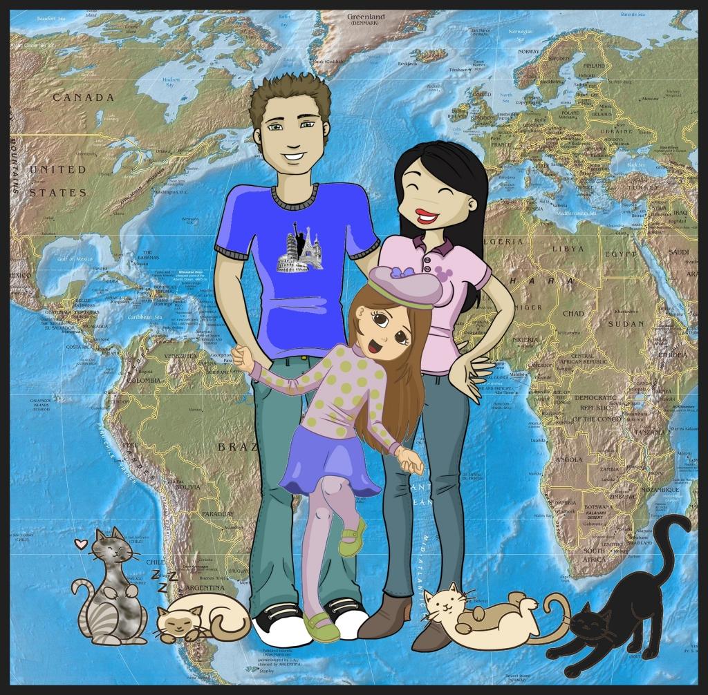 familia com gatas