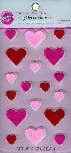 Cartela de decoração em glacê para cupcakes corações