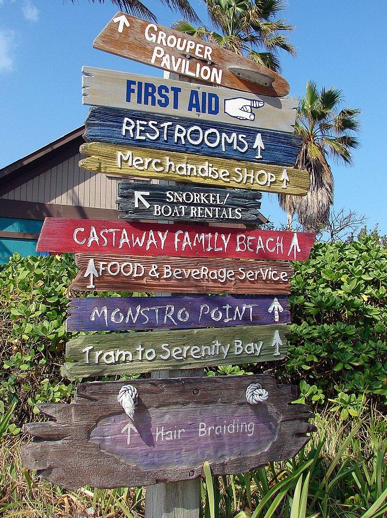Castaway Cay - a ilha é muito bem sinalizada, e tudo é fácil de encontrar