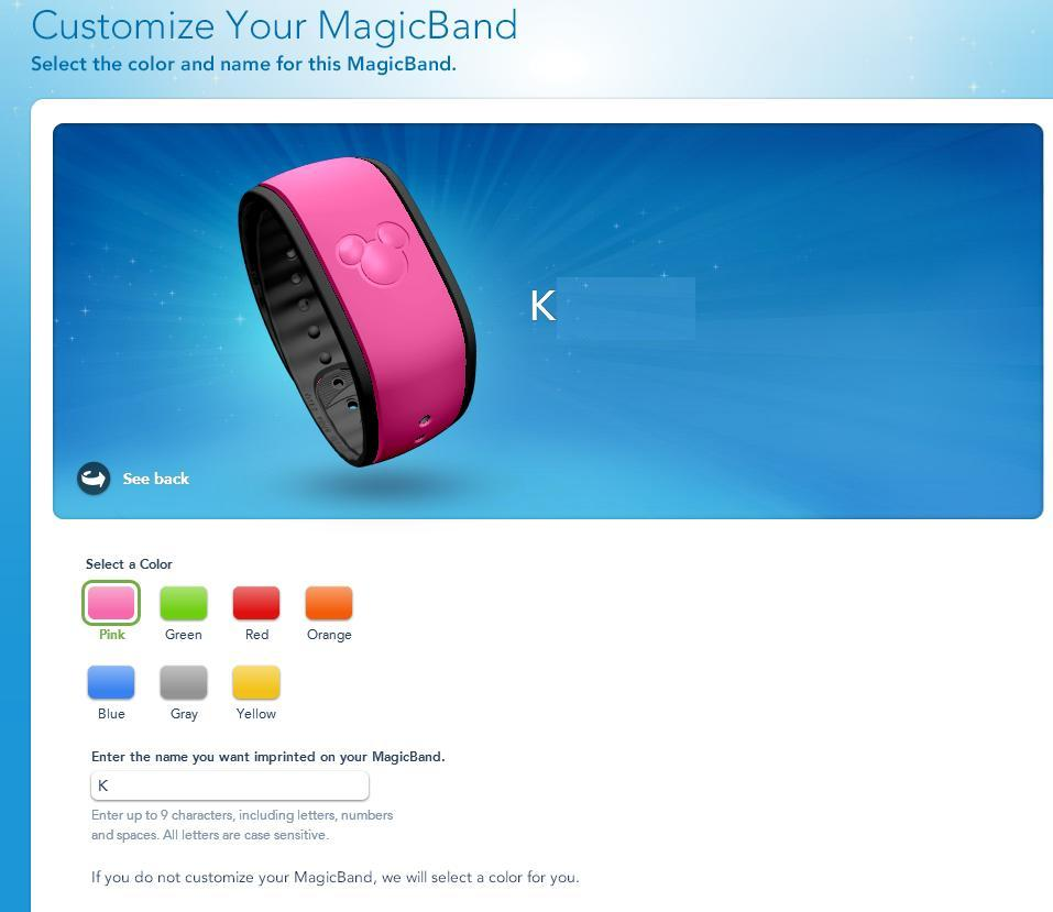 Personalizando a Magic Band no site da Disney