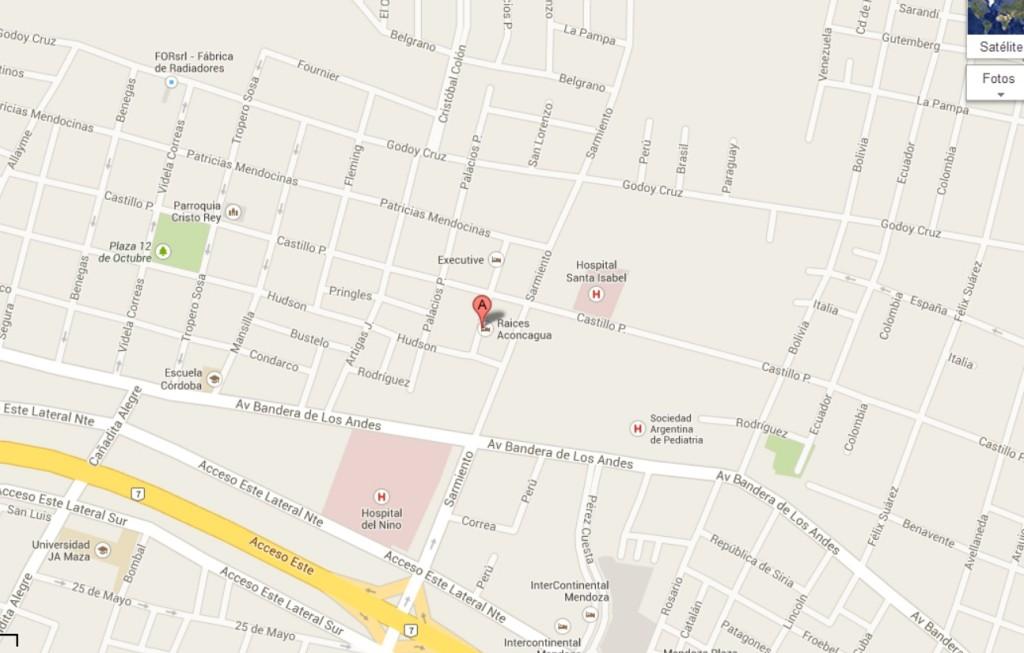 Localização do hotel no mapa.
