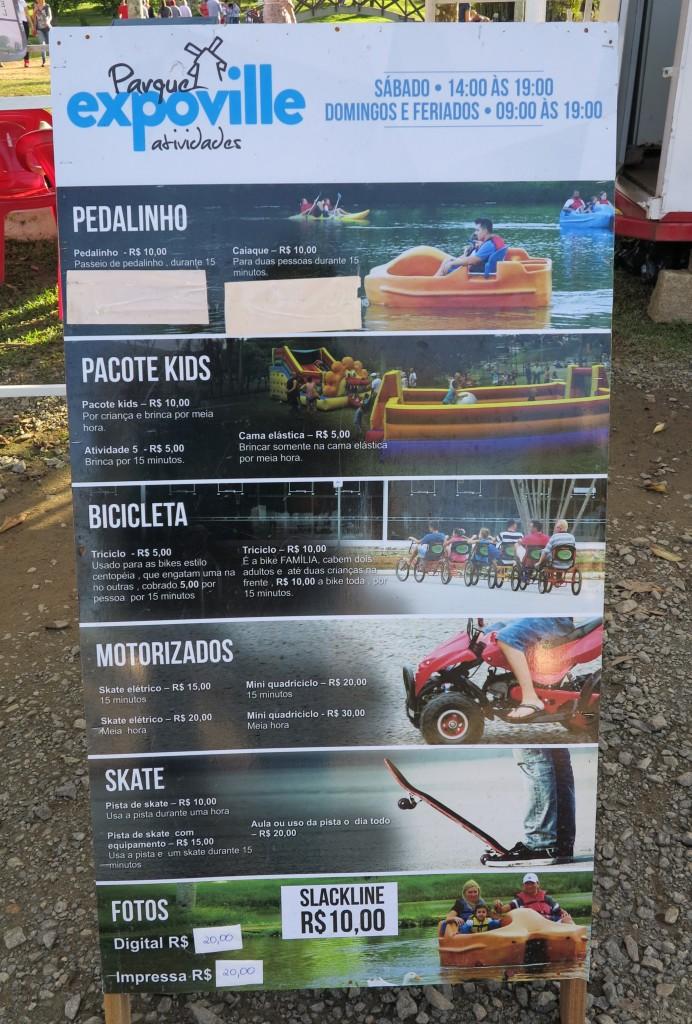 Parque Expoville Atividades - Preços